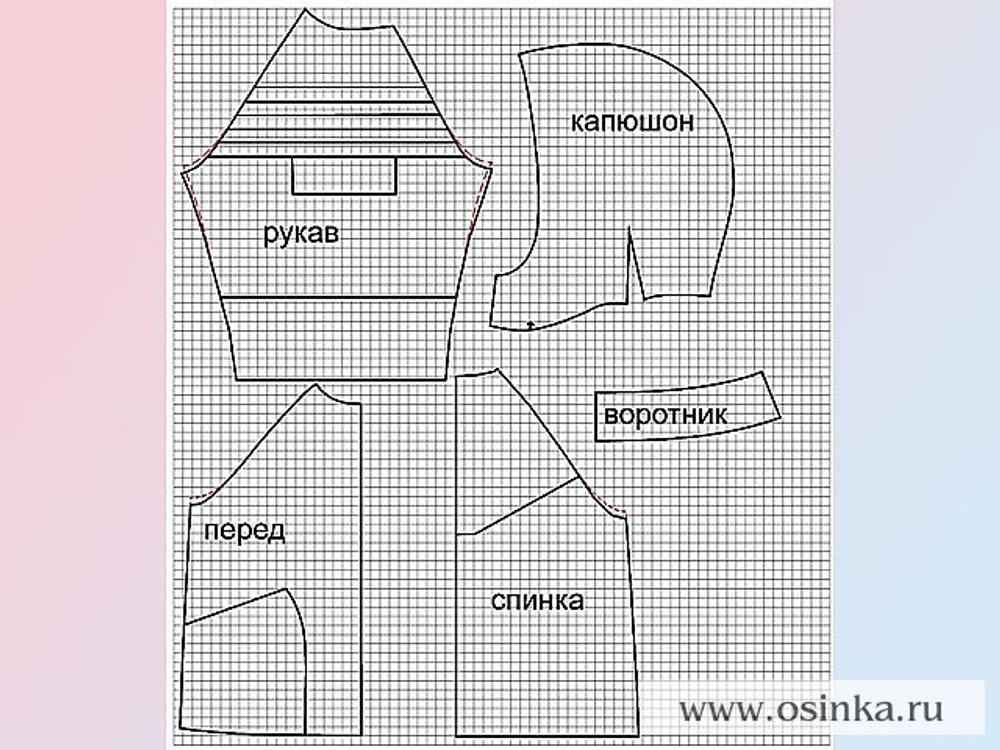 Схема выкройки. Масштаб: клетка 1x1см.