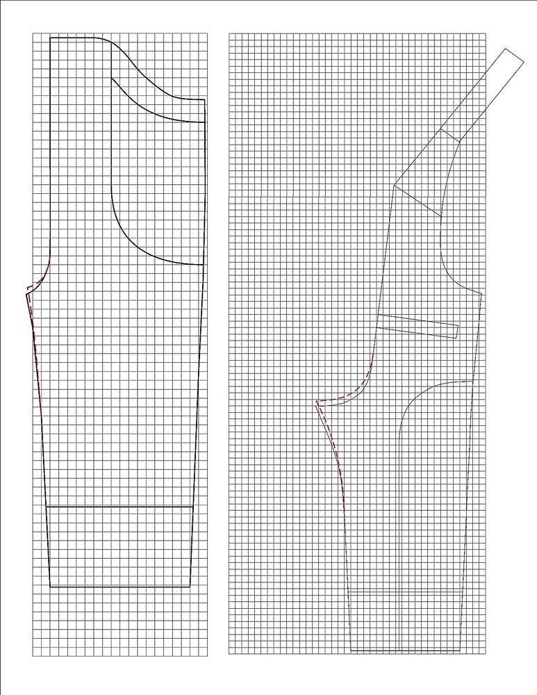 Схема полукомбинезона: клетка 1x1 см.