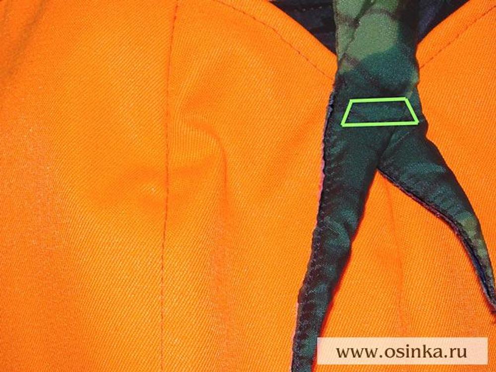 43. Строчку прокладывать по контуру, обозначенному зеленым цветом.
