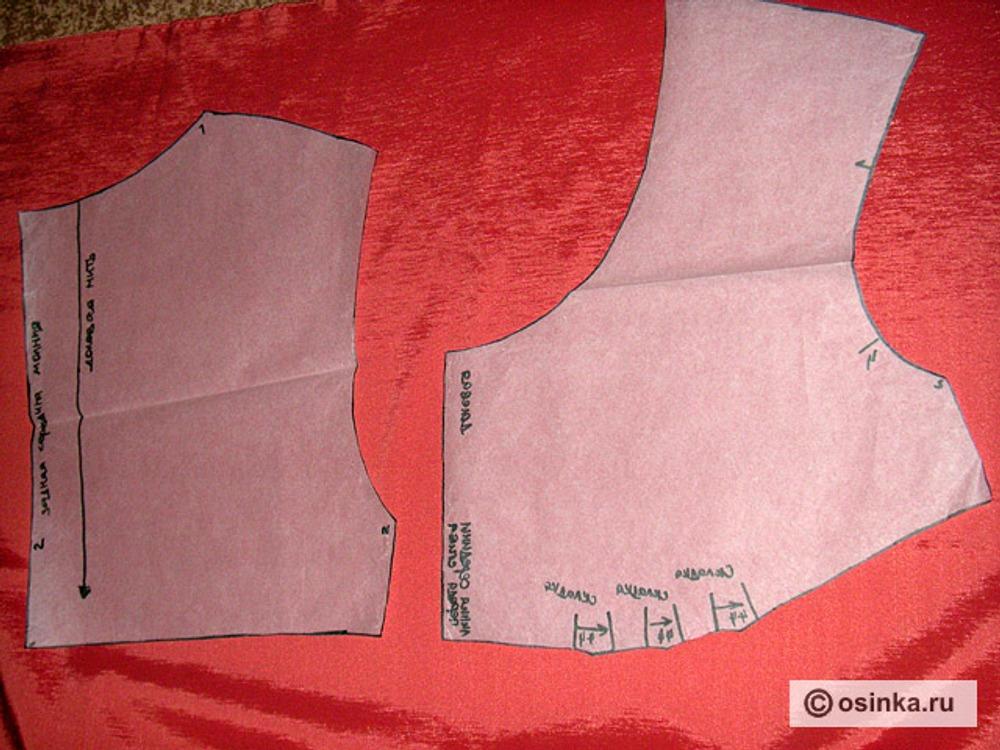 02. Пересняв выкройку, выкраиваем по инструкции в журнале детали платья, не забывая о важном правиле экономного расходования ткани.