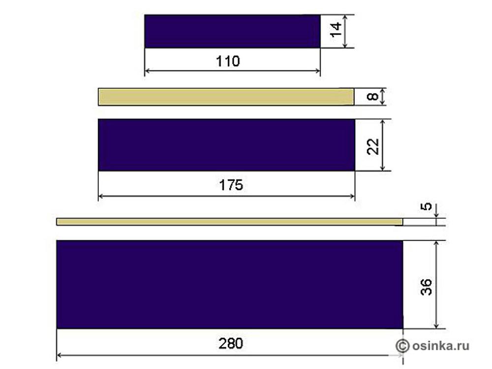01. Мне не хотелось делать ярусы одинаковой высоты – показалось не интересно. Моё чувство гармонии потребовало какой-нибудь динамики, а так как чувство гармонии неразрывно с чувством равновесия, то изменение высоты ярусов должно быть не «абы какое». Высоту можно менять и в арифметической прогрессии, и в геометрической, и в логарифмической (для особо затейливых), но мне показалось, что самый верный вариант – «золотое сечение». Поэтому я сделала отношение высоты последующего яруса к предыдущему равное примерно 1.618. Темные ярусы на увеличение к низу – 14см, 22см, 36см. Светлые ярусы в обратном направлении – 8см, 5см. С высотой определились, теперь определяемся с шириной. Практика показывает, что плотные ткани можно «собирать» в 1.5 раза, а лёгкие в 2 и более. В моём случае, исходя из плотности количества ткани, коэффициент получился 1.6 (здесь не нужно бояться всех этих цифр и коэффициентов, они глубоко примерны и 10-15-20см особо не повлияют на результат).