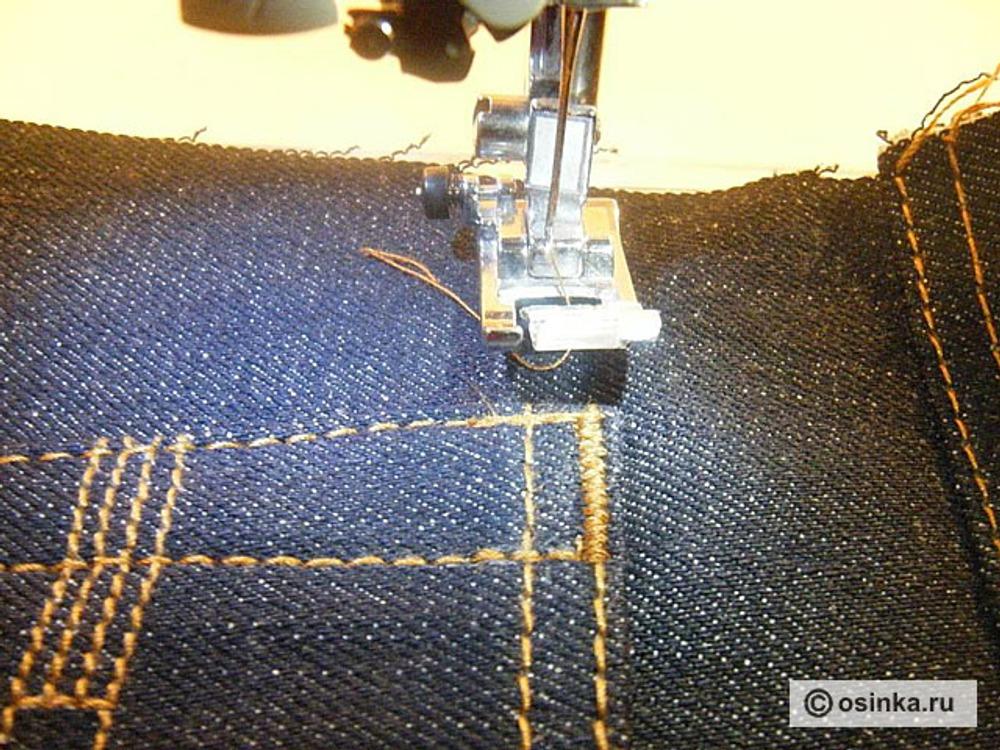 02. Меняем строчку на зиг-заг с характеристиками: длина 0.6, ширина 1.5, шьем до конца закрепки Увеличиваем ширину зиг-зага до 2.0, обратный ход Увеличиваем ширину зиг-зага до 2.5, вперёд и назад, для прочности. Обрезаем нитки, закрепка готова! Я использую такие настройки для грубой джинсовой ткани, для других тканей, возможно, понадобятся иные настройки.
