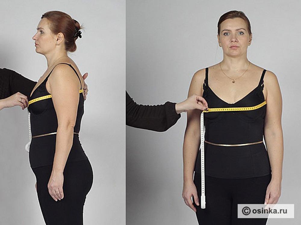 07. Сг2 - полуобхват груди второй снимают последовательно после Сг1 . Не сдвигая сантиметра с лопаток, его переводят спереди на выступающие точки груди. С помощью Сг1 и Сг2 определяют раствор нагрудной вытачки.
