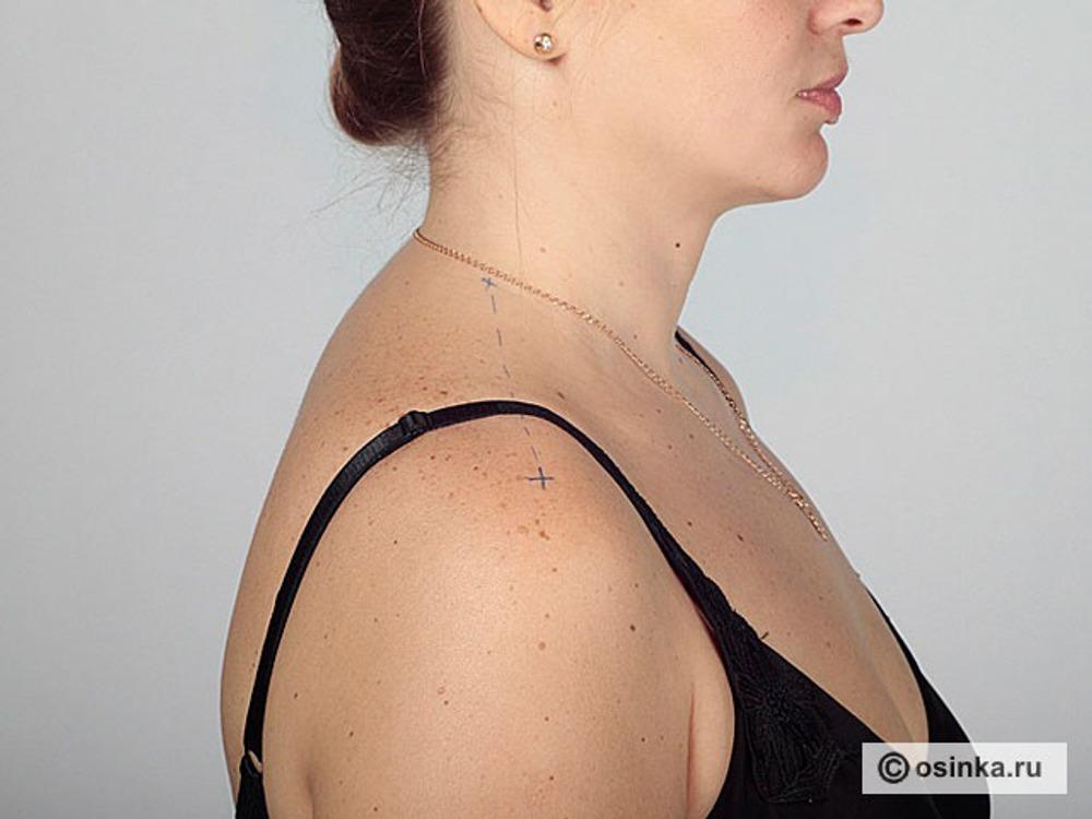 24. Шпл - ширина плеча, расстояние от точки основания шеи до конечной плечевой точки, которую, с согласия клиента отмечают маркером до начала снятия мерок.