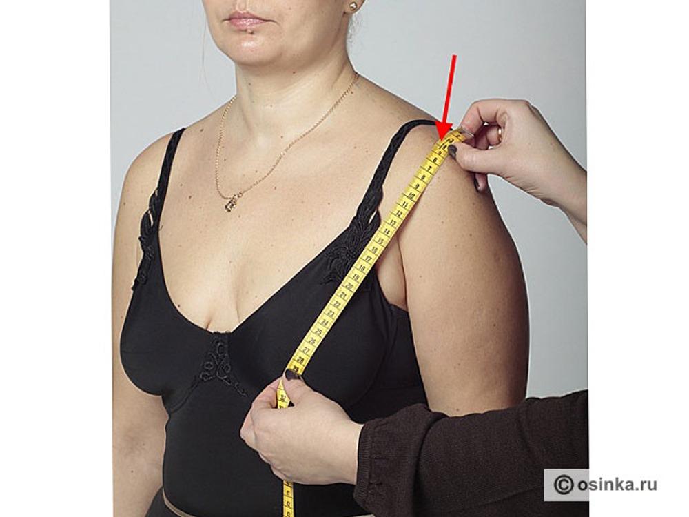 """19. Впкп - высота плеча косая переда. Измеряют от выступающей точки груди до конечной плечевой точки СРАЗУ после измерения Вг , не меняя положения руки на выступающей точке груди. Удобно записывать не собственно мерку, а тот """"хвостик"""", который остается от мерки Вг (например, 2,5 см). Это делается для того, чтобы случайно не изменить положение сосковой точки, что повлияет на качество нашей конструкции. После измерения мерку вычисляют: Вг – """"хвостик"""", например, Впкп = 30 – 2,5 = 27,5 см. Мерки Дтп , Вг и Впкп снимаются последовательно!"""