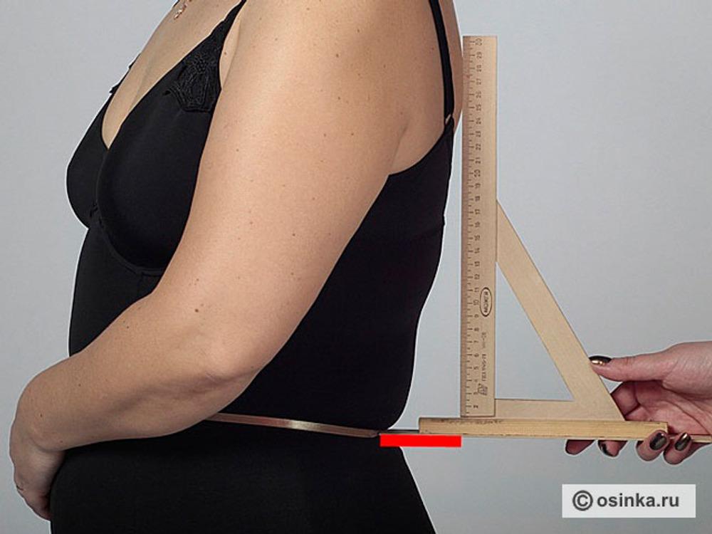 34.  Гтз - глубина прогиба талии спинки для лифа. Измеряют по горизонтали расстояние от вертикали, опущенной от выступающей точки лопаток до линии талии.