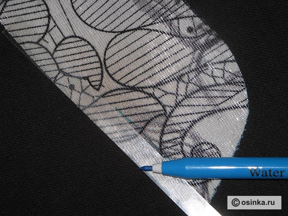 07. Подготовка стойки. На дублированной детали стойки разметим линию шва (ширину припуска, которую Вы заложили при раскрое).