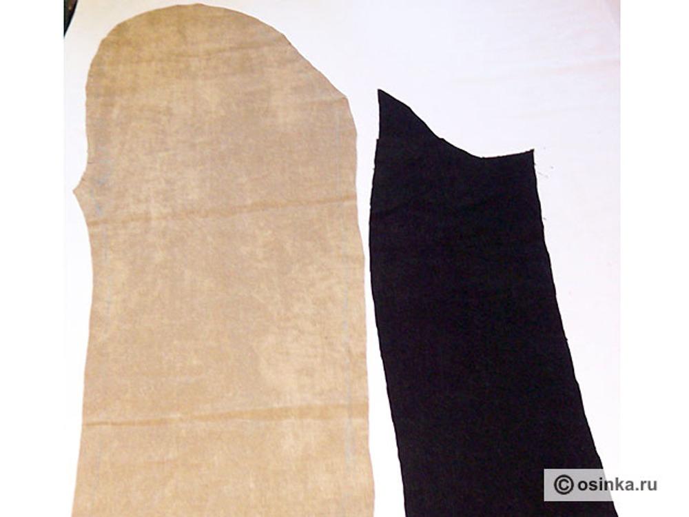 12. Выкраиваем рукав. Из основной ткани – переднюю часть рукава - 2 шт, из ткани компаньона - заднюю часть рукава - 2 шт.