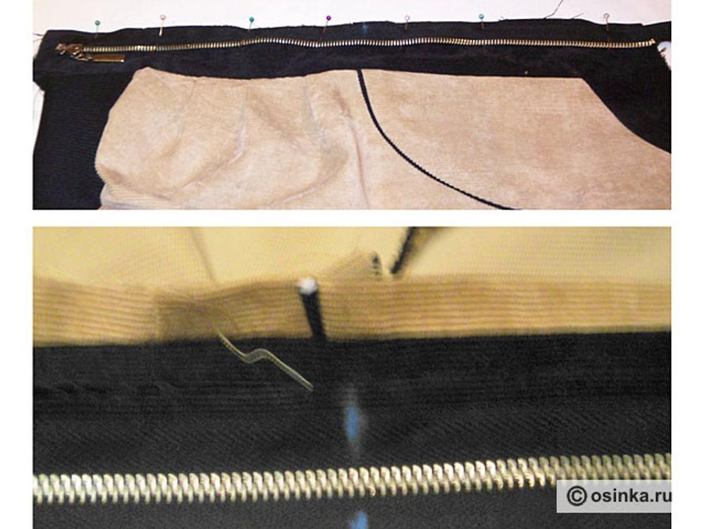27. Одну часть разъемной молнии прикалываем к среднему срезу так, чтобы зубчики смотрели на куртку, а шов приходился точно на линию середины переда. Пришиваем молнию. Закрываем вторую часть молнии и на линии кокетки ставим надсечку.