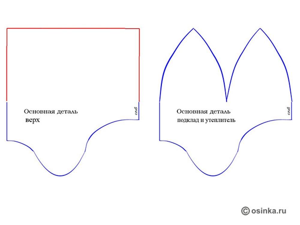 04. По выкройке с синим контуром верха (клинья) кроим утеплитель и подклад, по красному контуру основную деталь верха.