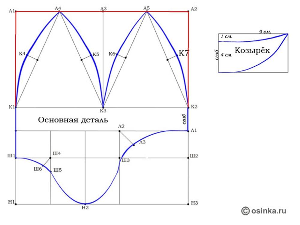 03. 1. Через точки Ш1-К1-К4-А4-К5-К3-К6-А5-К7-К2-Л1-Л3-Ш3-Н2-Ш5-Ш6 начертить контур детали плавными линиями 2. Провести другим цветом линии К1-А1-А2-К2 3. Построить козырек согласно чертежу.