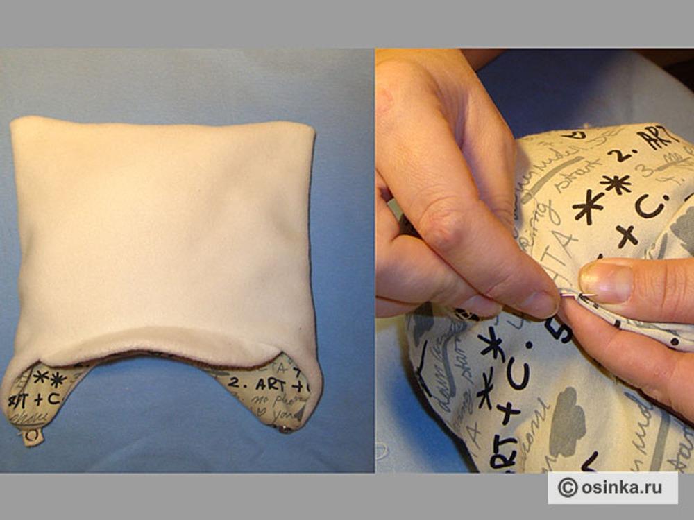 23. Вывернуть шапку через отверстие в подкладе. Отверстие зашить вручную.