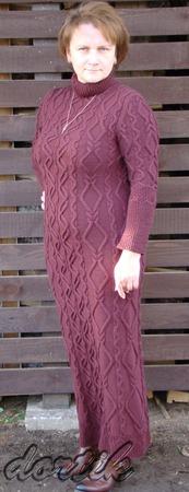 Фото. Гиперпроект - платье, источник вдохновения - платье с аранами от Наталии Куликовской.  Пряжа 100% шерсть мерино, спицы №3.