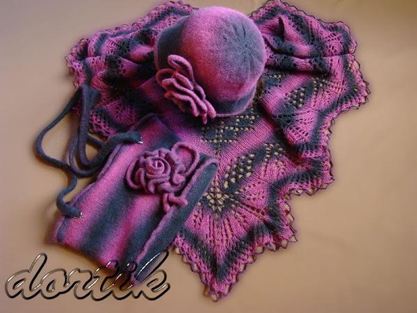 Фото. Комплект: шляпка, шаль и сумочка. Нитки литовские Teksrena 100% шерсть, 100 г., 350 м