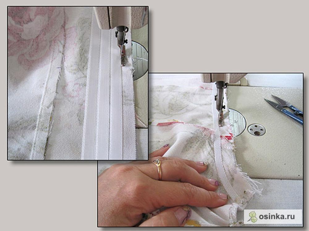 54. Заменяю лапку швейной машины на одностороннюю с правой лыжней. Строчу со стороны подклада вдоль косточек. Благодаря тому, что косточки пристрачивала на расстоянии 1 мм от строчки-линейки, сейчас иголка попадает точно в контрольную строчку. Каждый шов строчу от края изделия до другого края. Поворачивать на игле категорически нельзя! При повороте на игле искривляется форма и не получится симметричности сторон.
