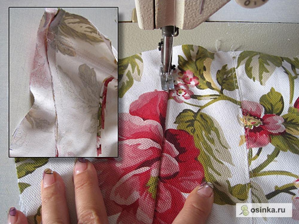 10. Беру боковые детали переда подклада и сшиваю рельефы. Строго соблюдаю припуск шва 1,2 см.