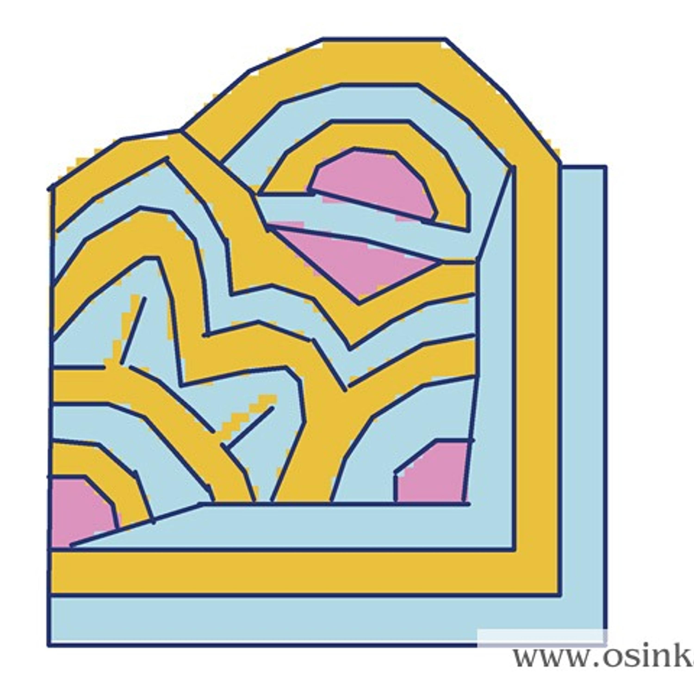 Для расчета нужно наметить эскиз с конфигурацией цветовых переходов. Свяжем участок с фантазийным узором, например, такой. На рисунке темными линиями намечены границы рядов.