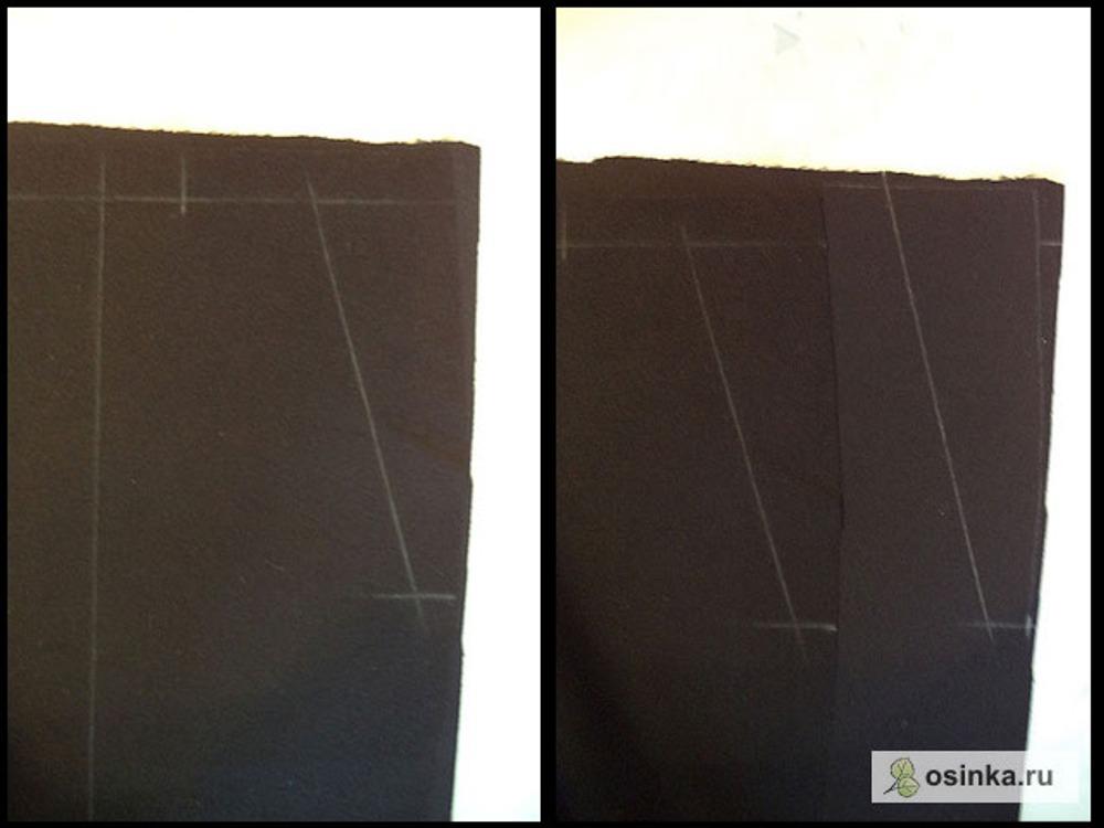12. Подзор крою, наложив на кусочек ткани ПП. Обвожу по контуру вверху и по боковому срезу, переношу все метки кармана, прибавляю по 4-5 см в области линии входа в карман.