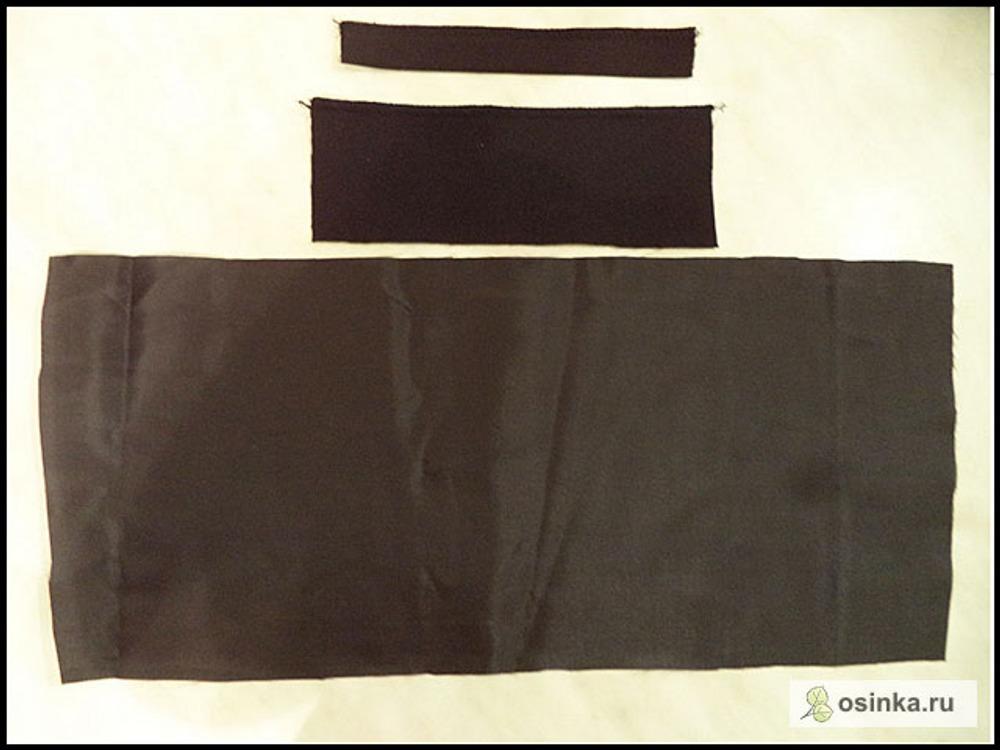 15. Для заднего кармана (он у меня планируется с листочкой) крою листочку, подзор и мешковину.