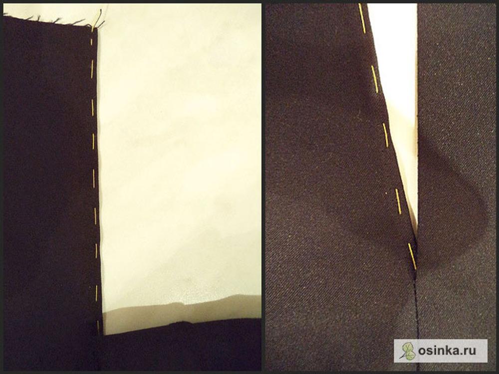 """54. На правой половинке (она без откоска) """"выпускаю"""" ткань припуска на 2-3 мм от заутюженного сгиба, и заметываю."""