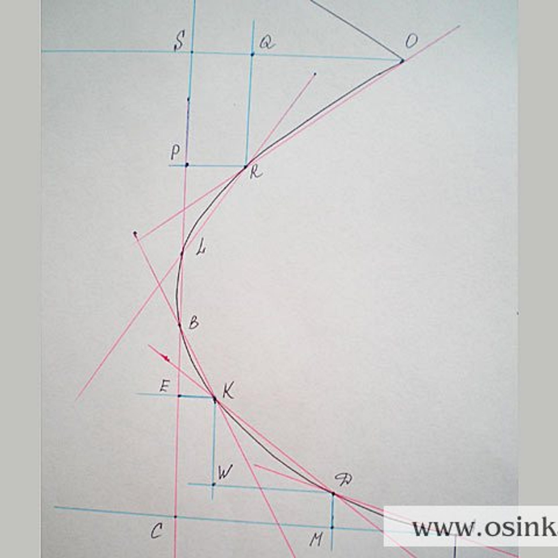 Получилось 6 прямых участков: AD, DK, KB, BL, LR, RQ. Из всех этих точек рисуем перпендикуляры и горизонтали, на их пересечении ставим обозначения. Таким образом, каждый участок кривой представляет собой сторону прямоугольного треугольника или прямую линию.