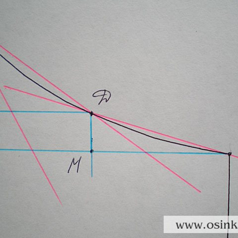 Шаг 3. Делаем расчет проймы путем расчета каждого прямого участка. Рассмотрим все участки поочередно. 1 участок. Треугольник ADM. MD = 1 см х 4 р.= 4 р.; MA = 3,5 см х 2,8 п.=9,8 п.~10 п. Итак, на 1 участке мы должны убрать 10 петель за 4 ряда. Так как петли будем закрывать, сделать это можно в каждом 2-м ряду (там, где находиться конец нити). 4 р. : 2 р. = 2 приема, т.е. за 2 приема мы должны убрать 10 петель. 10 п. : 2 приема = 5 п. Расчет 1-го участка: 1 ряд –5 п., 2 ряд –0 п., 3 ряд –5 п., 4 ряд –0 п. Провязываем 4 ряда, закрываем 5 петель.