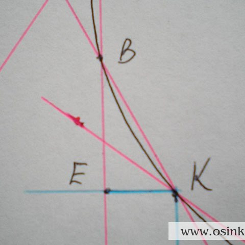 3 участок. Треугольник KBE. KE = 1 см х 2,8 п. = 2,8 п. ~ 3 п. BE = 2,2 см х 4 р. = 8,8 р. ~ 9 р. 9 р. : 3 п. = 3, т.е. убавляем по 1 п. в каждом 3-м ряду 3 раза. Расчет 3-го участка: 1 ряд –0 п., 2 ряд –0 п., 3 ряд –1 п., 4 ряд –0 п., 5 ряд –0 п., 6 ряд –1 п., 7 ряд –0 п., 8 ряд –0 п., 9 р. –1п. Провязываем 9 рядов, закрываем 3 петли.