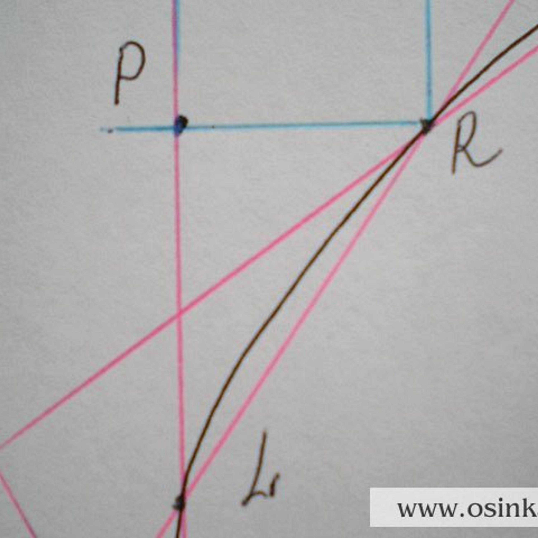 5 участок. Треугольник PLR. PR = 1,8 см х 2,8 п. = 5,04 п. ~ 5 п. PL = 2,8 см х 4 р. = 11,2 р. ~ 11 р., т.е. 11 р. : 5 п. = 2,2 (хорошо делится 10 на 5, получится 2 и 1 ряд в остатке). Будем прибавлять 4 раза по 1 петле в каждом 2-м ряду, 1 раз 1 петлю в 3-м ряду. Расчет 5-го участка: 1 ряд –0 п., 2 ряд –0 п., 3 ряд +1п., 4 ряд –0 п., 5 ряд +1п., 6 ряд –0 п., 7 ряд +1п., 8 ряд –0п., 9 ряд +1п, 10 ряд –0 п., 11 р. +1 п. Провязываем 11 рядов, прибавляем 5 петель.