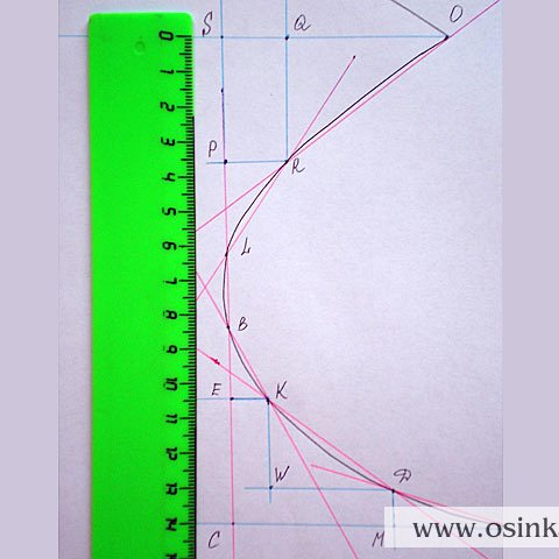 Проверка по высоте: SC = 13,9 см х 4 р. = 55,6 р. (4+10+9+9+11+13 = 56 р.). Такие же проверки можно сделать по ширине убавок и прибавок.