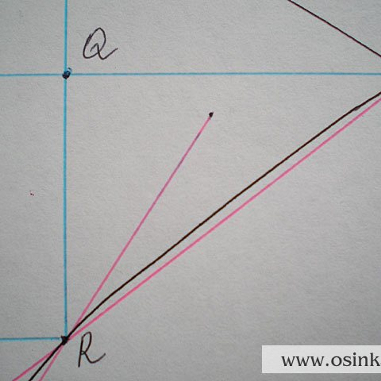 6 участок. Треугольник RQO. RQ = 3,3 см х 4 р. = 13,2 р. ~ 13 р. QO = 4,5 см х 2,8 п. = 12,6 п. ~ 13 п., т.е. 13 п. : 13 р. = 1. Прибавляем в каждом ряду по 1 петле. Расчет 6 участка: 1 ряд +1 п., 2 ряд +1 п., ..., 13 ряд +1 п. Провязываем 13 рядов, прибавляем 13 петель.