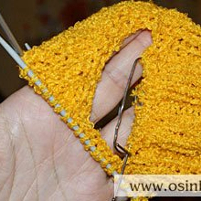 4. Далее вязать из петель обхвата шеи нужную вам длину вкруговую, как верх носка.