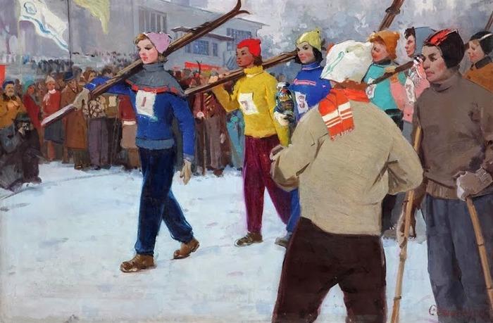 """Фото. Семыкина Л. Н. """"Победители соревнований"""", 1950-е ."""