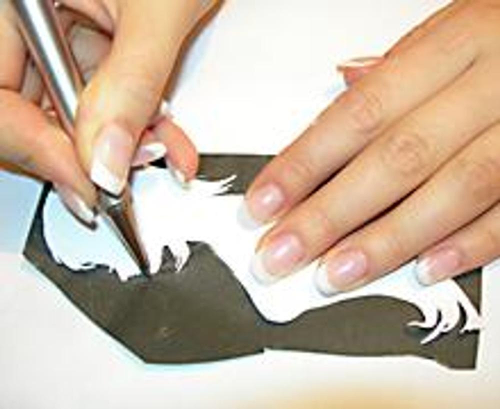 3. Кладем ткань, сверху -- копировальную бумагу (блестящей стороной вниз) и обводим силуэт ручкой или карандашом. Нажимать нужно с силой, но так, чтобы не порвать копирку.