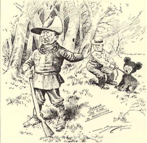 Фото. Карикатура К.Берримена в газете «Вашингтон Пост» 1902 года.