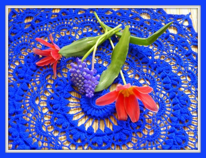 Фото. Салфетка Весна в синем цвете.  Автор работы - Olga_Mt