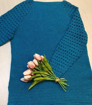 Фото. Пуловер «Бирюза» крючком.  Автор работы - Violinka1707