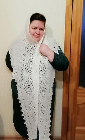 Фото. Оренбургский платок по схеме Лили Large snowflake bactus.  Автор работы - ksenofontik