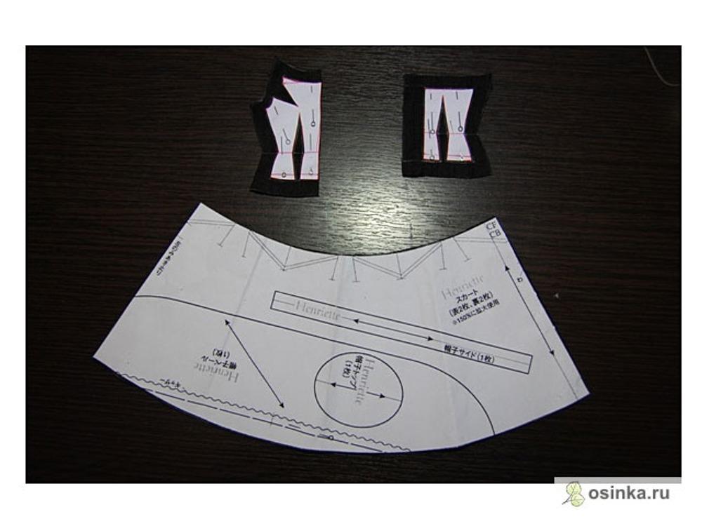 8e585aa67635 ... одну деталь переда со сгибом и две детали спинки – из основной ткани,  из подкладочной одну деталь переда со сгибом и две детали спинки. Юбка будет  у нас ...