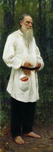 Фото. И. Е. Репин.  Л. Н. Толстой босой. 1901.
