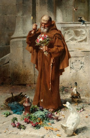"""Фото. Johann Till (1827-1894) """"Monk with Geese and Flowers"""", 1890"""