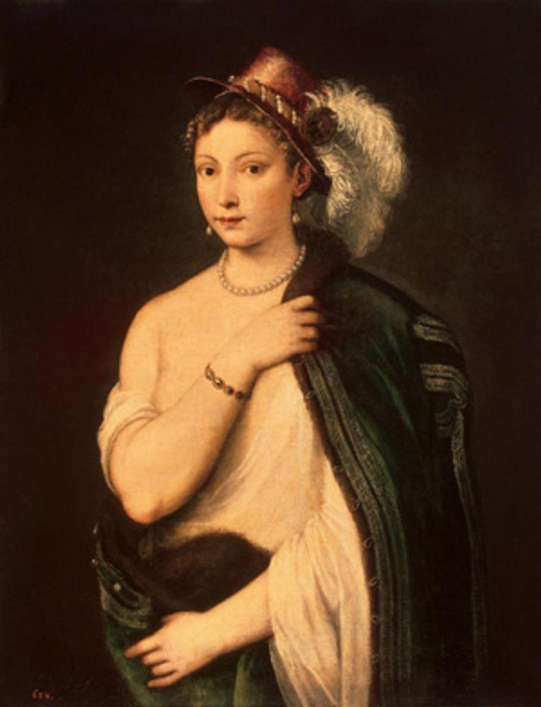 """Фото. Тициан (Тициано Вечеллио) (Tiziano Vecellio) """"Портрет молодой женщины в шляпе с пером"""". 1530-е гг."""