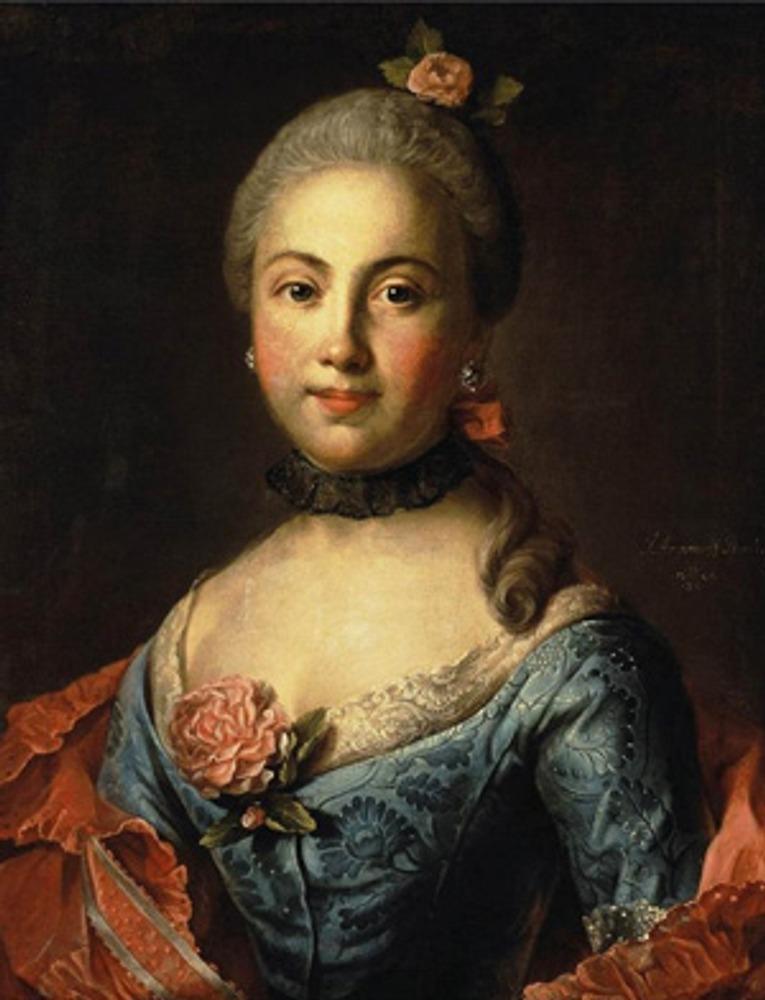 """Фото. И. Аргунов """"Портрет дамы в голубом платье"""", 1760 г."""