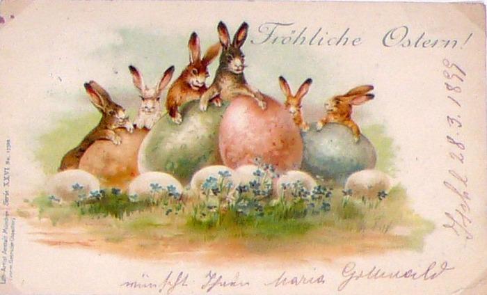 Фото. Пасхальная открытка, Германия. Дата отправления 28 апреля 1898 года.