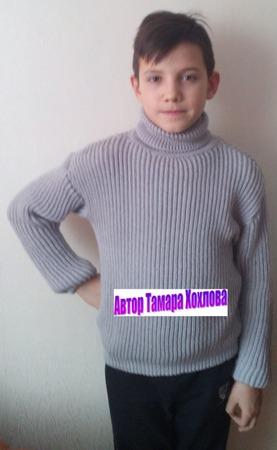 Фото. Свитер серый английской резинкой.  Автор работы - Тамара1313