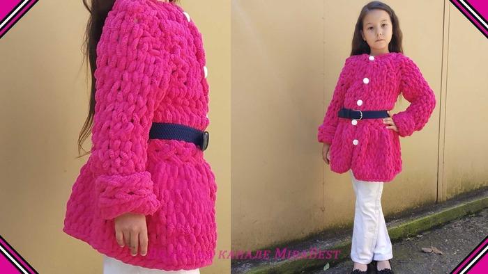 Фото. Пальто для дочки из Ализе Пуффи.  Автор работы - HappyWife