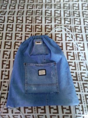 Фото. Сумка для сменной обуви, из старых джинсов.  Автор работы - vavilena