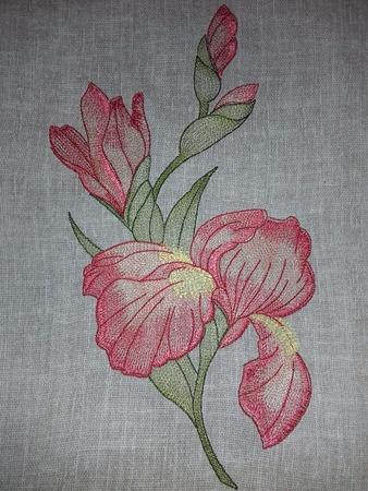Фото. Ирис, машинная вышивка. Автор работы - olga201076