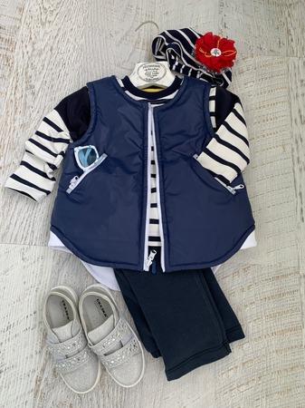 """Фото. """"Морской"""" комплект - синий жилет, свитшот из остатков кулирки в полоску и бандана. Автор работы - Surochek"""