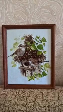 Фото. Птички, вышитая картина.  Автор работы - lubov55