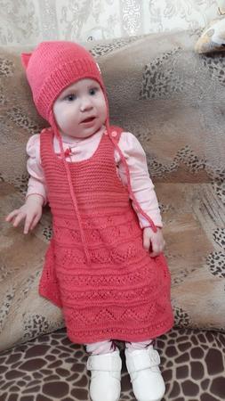 Фото. Платье по описанию из Дропс + шапочка. Автор работы - kyrochka